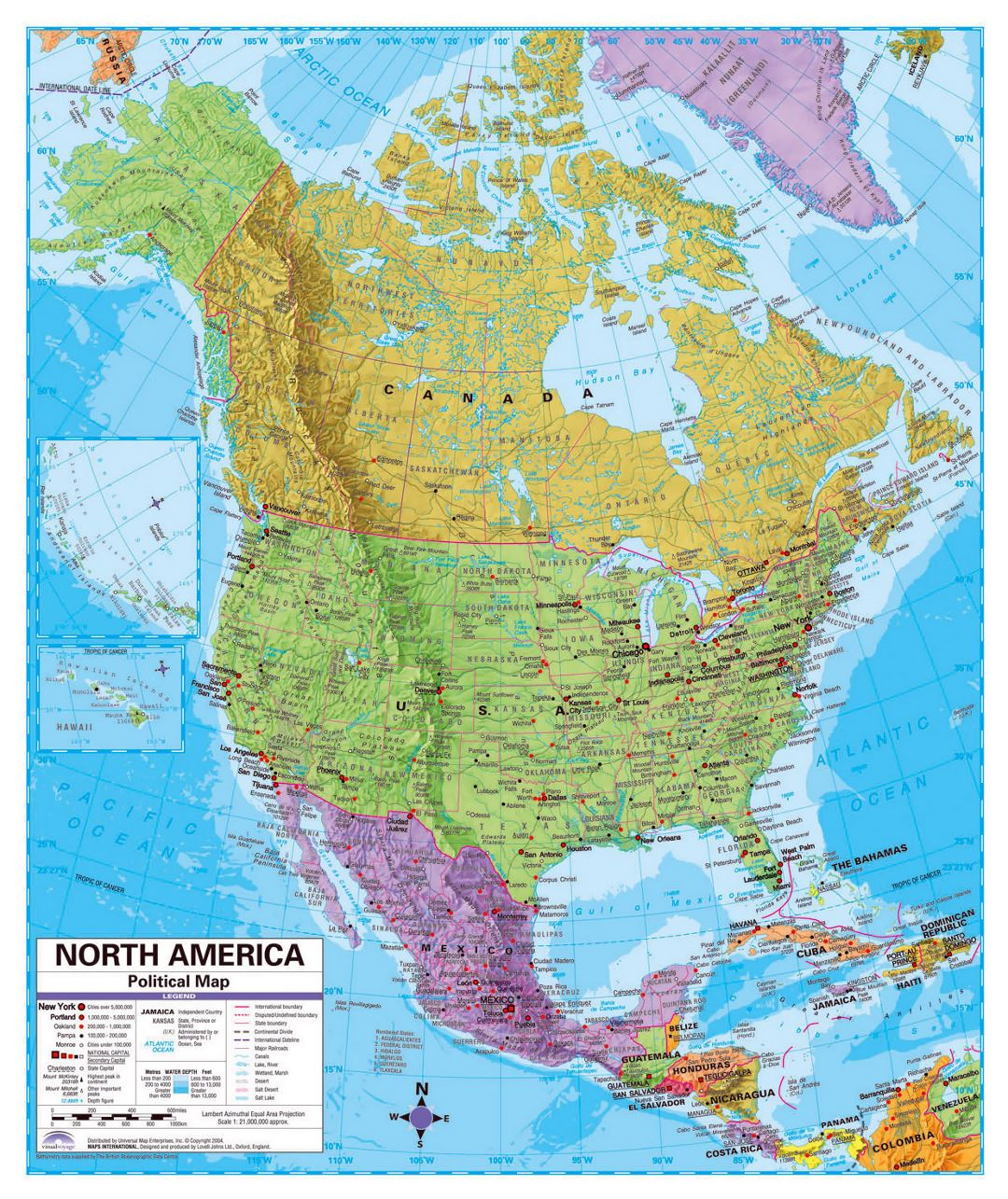 Political map of North America with relief, roads and major cities ...