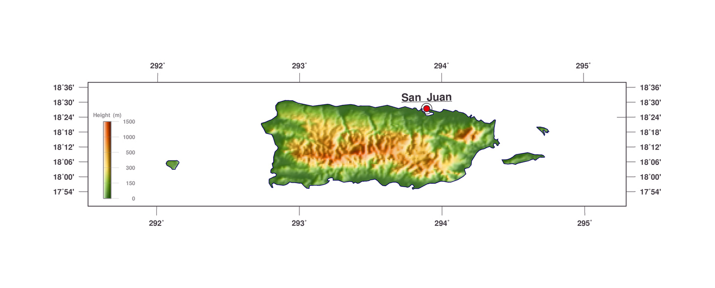 elevation map of puerto rico Detailed Elevation Map Of Puerto Rico Puerto Rico North elevation map of puerto rico