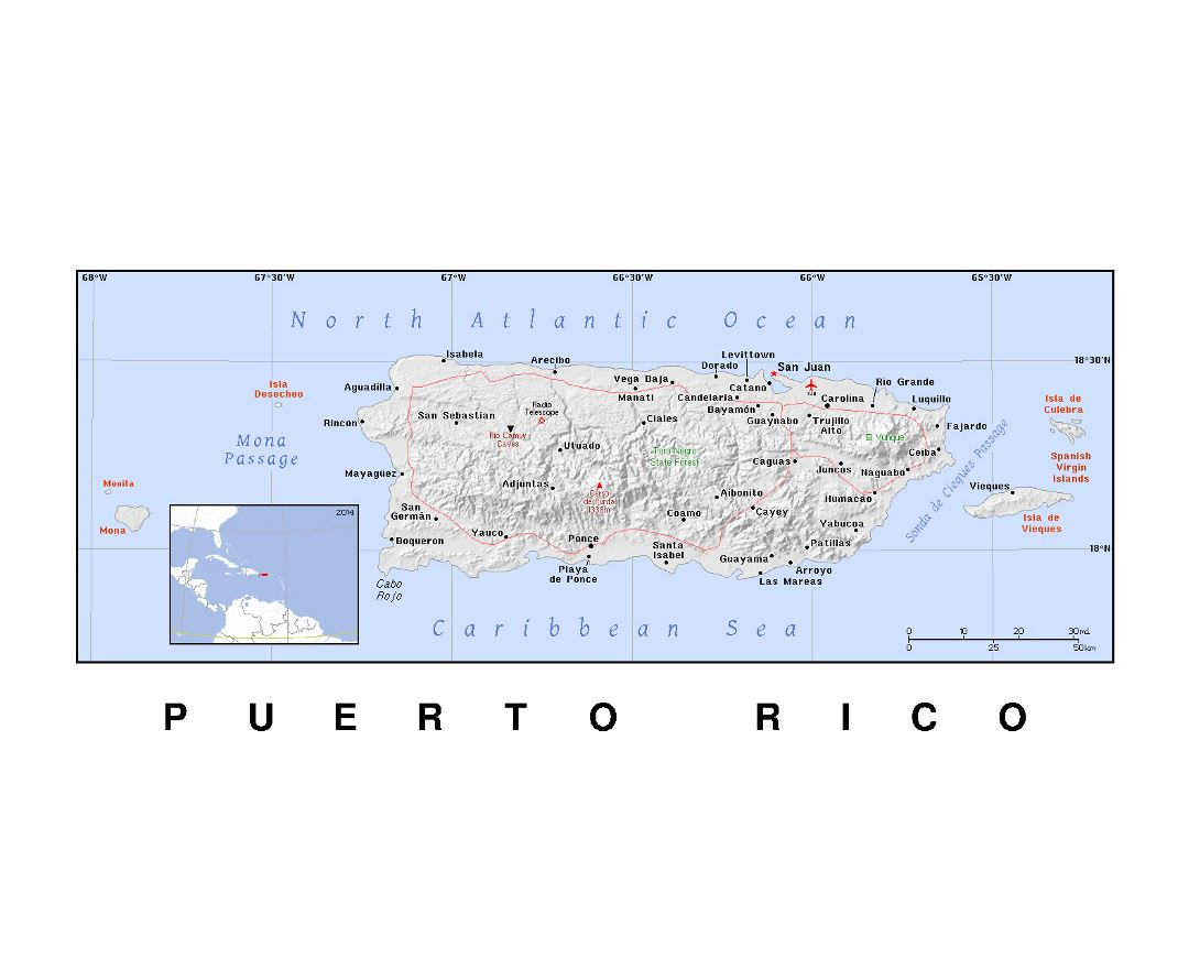 Detailed political map of Puerto Rico with relief