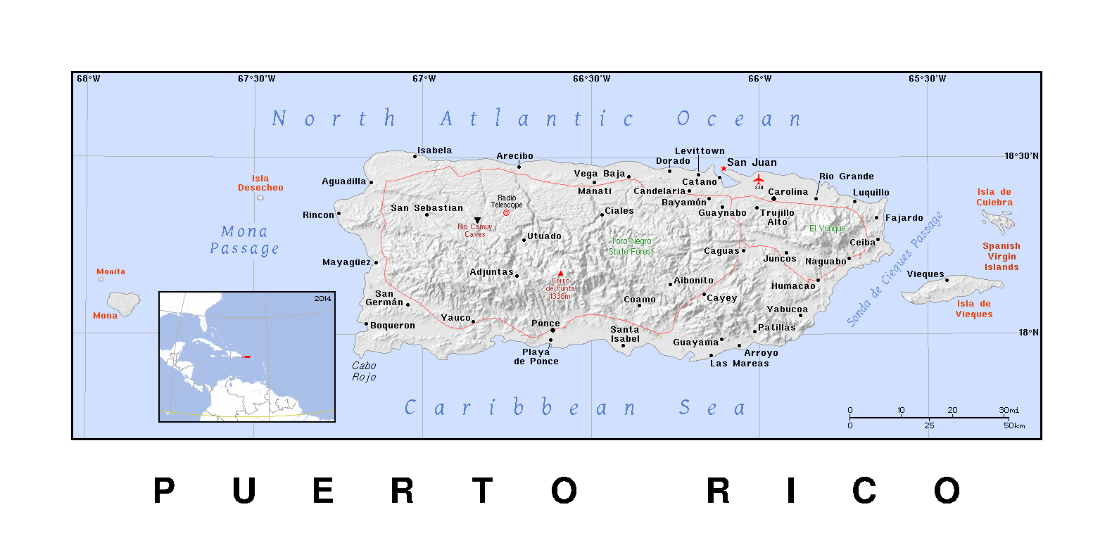 Detailed Political Map Of Puerto Rico With Relief Puerto Rico