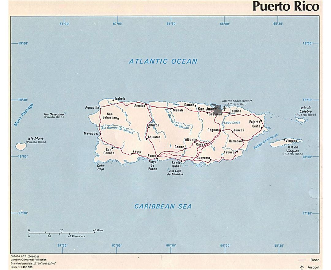 Detailed political map of Puerto Rico with roads, cities and airport - 1976