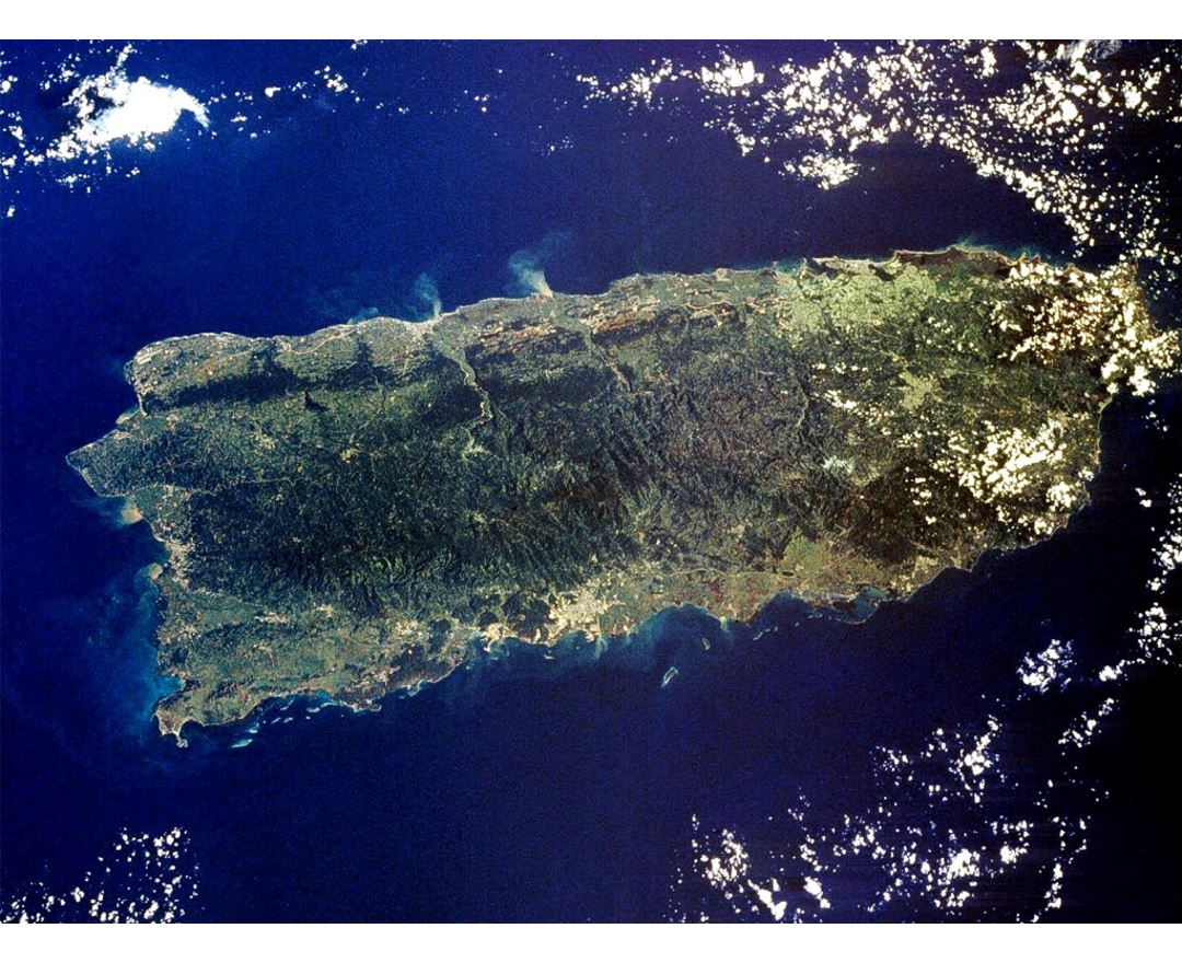Detailed satellite map of Puerto Rico
