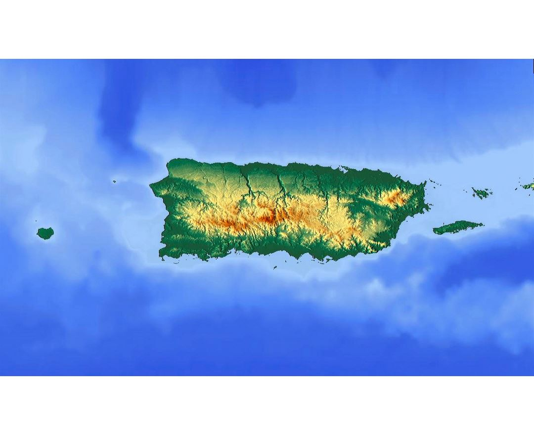 Detailed topographic map of Puerto Rico