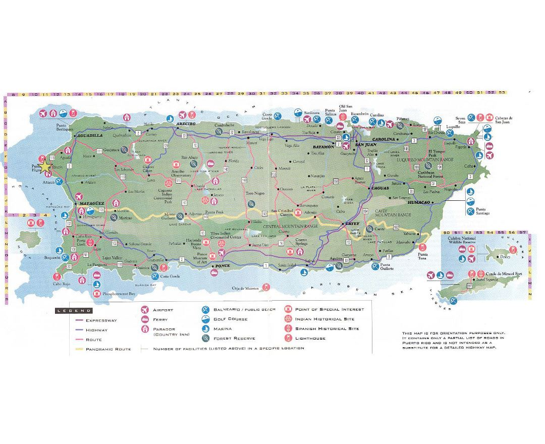 Detailed tourist map of Puerto Rico with roads and other marks