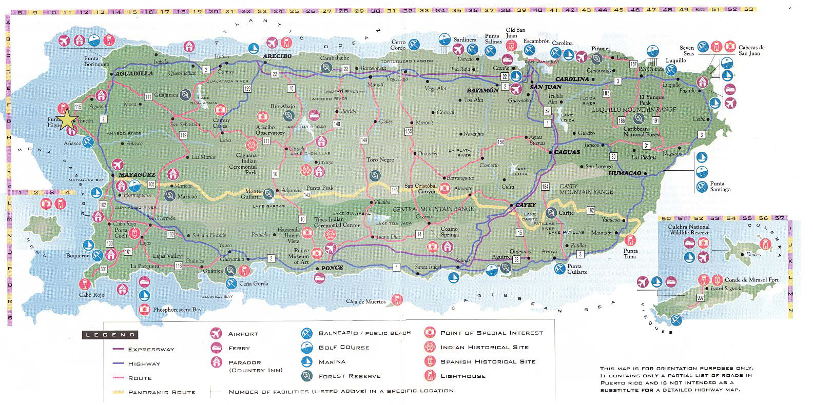 Detailed tourist map of Puerto Rico with roads and other ...