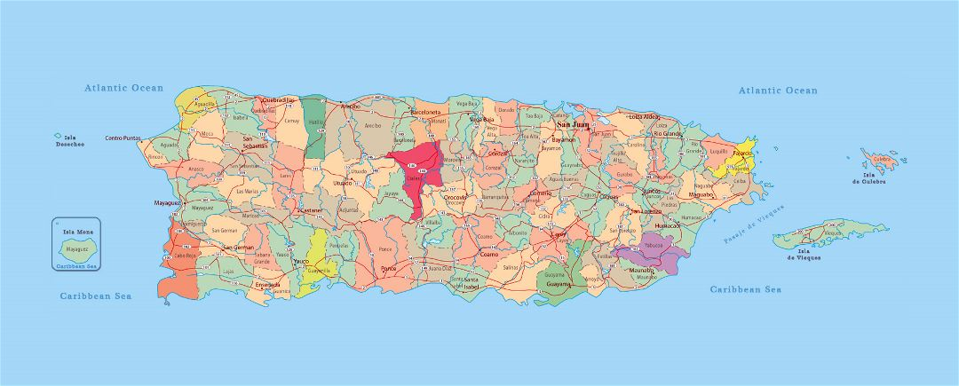 Large administrative map of Puerto Rico with roads and cities