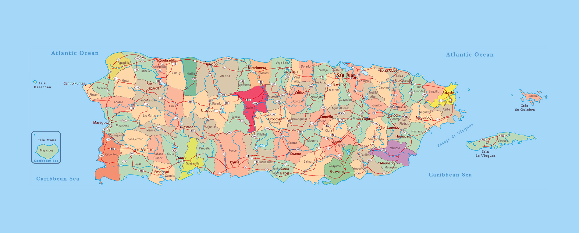 Large administrative map of Puerto Rico with roads and ...