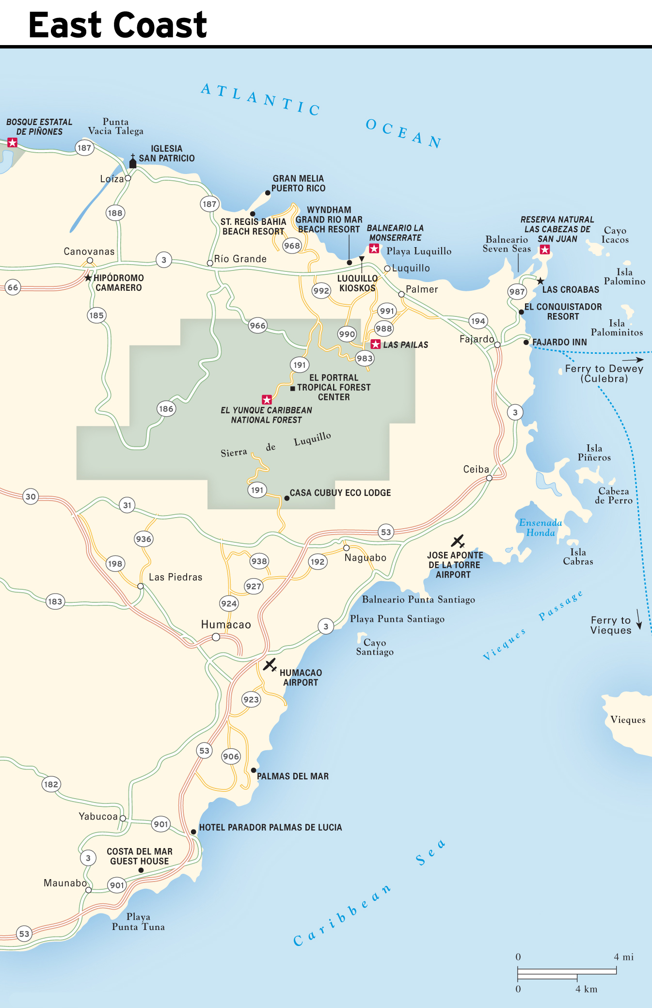Large detailed East Coast map of Puerto Rico | Puerto Rico | North ...