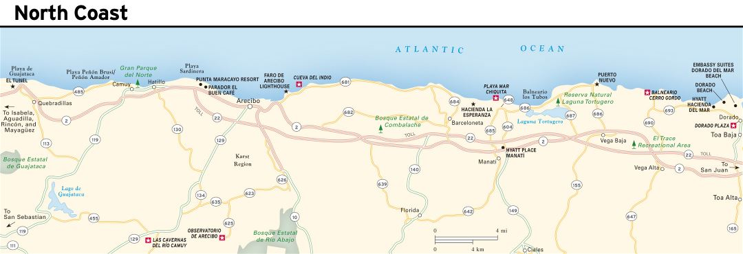 Large detailed North Coast map of Puerto Rico