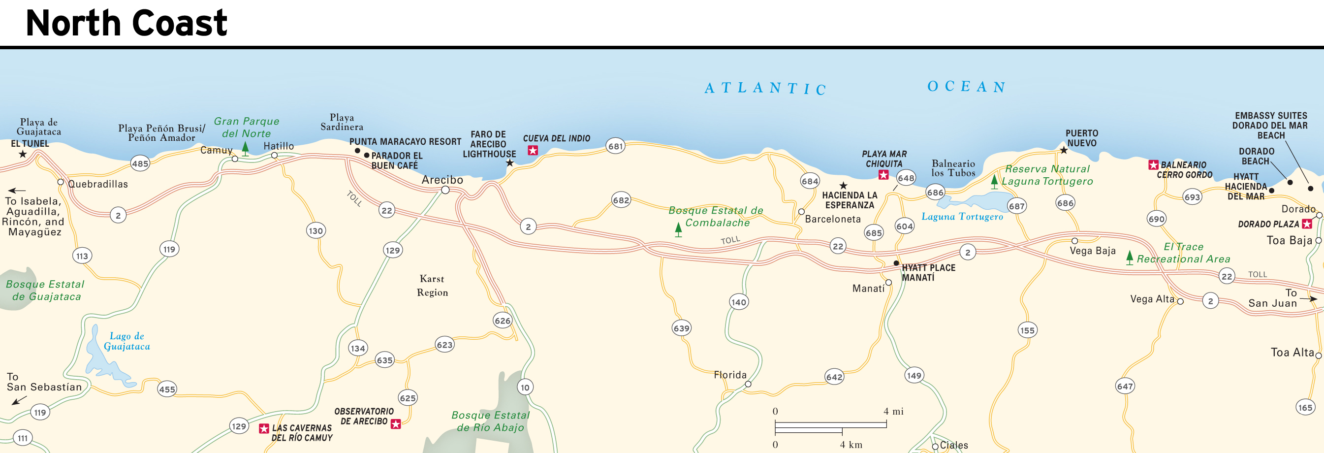 Large detailed North Coast map of Puerto Rico | Puerto Rico ...