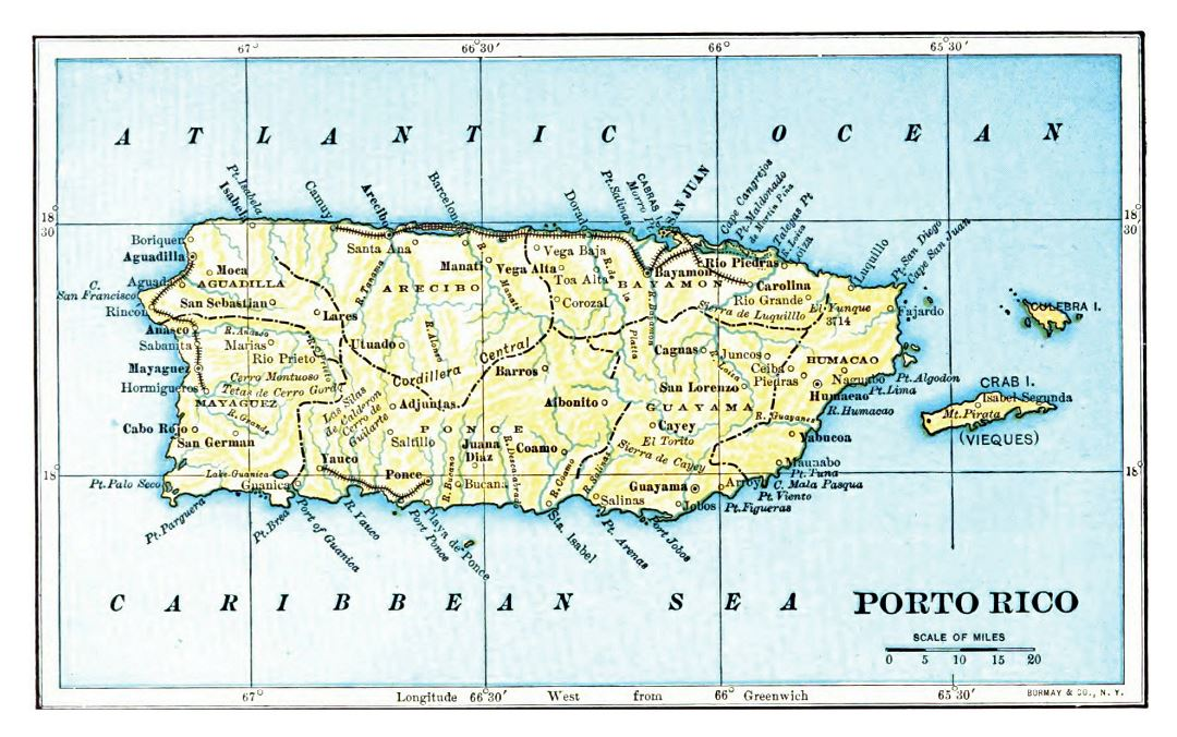 Large detailed old map of Puerto Rico - 1903