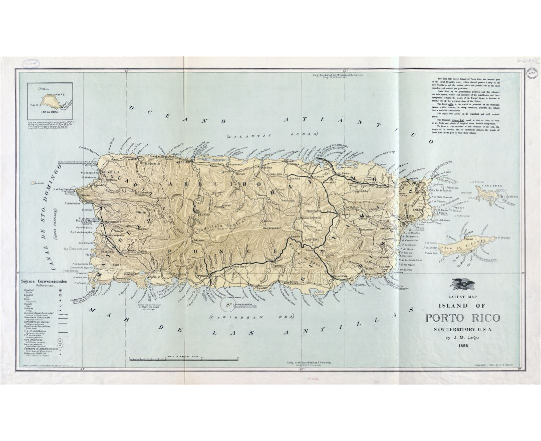 Large detailed old map of Puerto Rico with relief and other marks - 1898