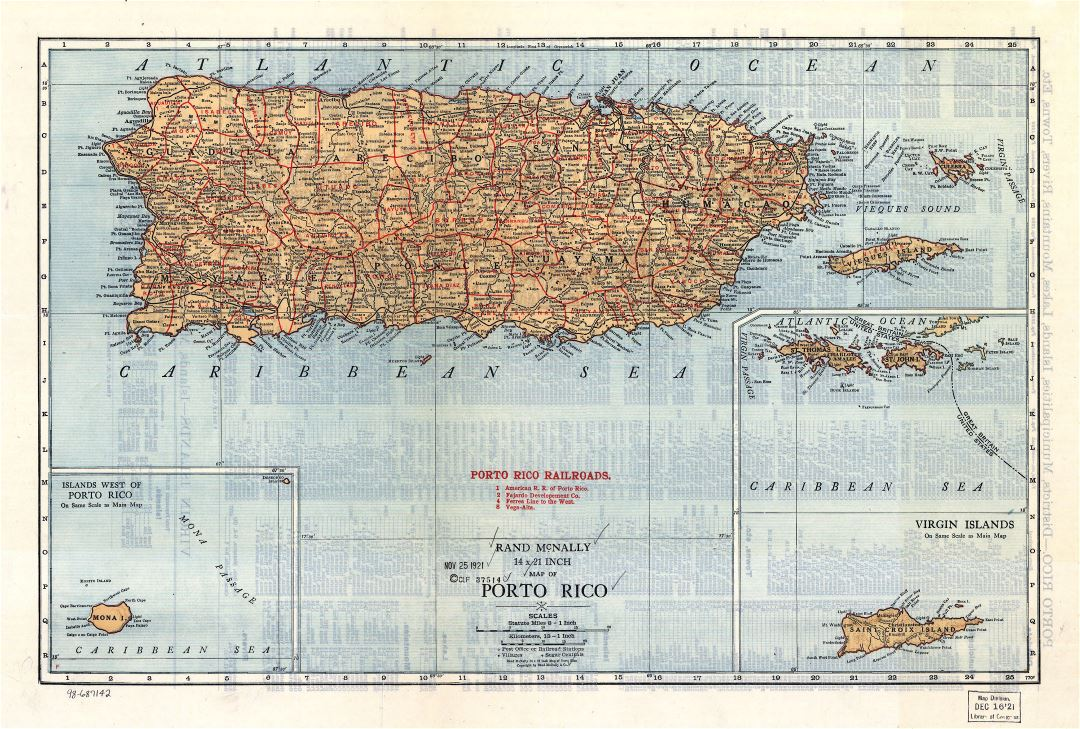 Large detailed old map of Puerto Rico with relief, roads and cities - 1921