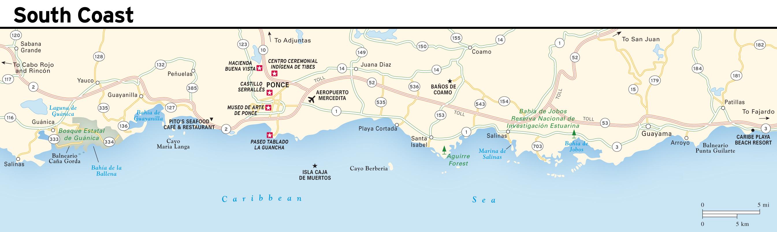 South Coast Map Large detailed South Coast map of Puerto Rico | Puerto Rico  South Coast Map