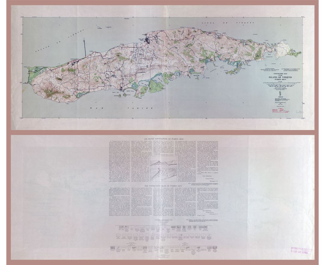 Large detailed topographic map of the Island of Vieques, Puerto Rico - 1946