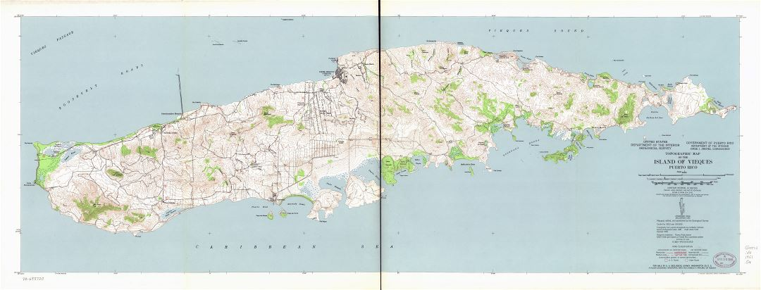 Large detailed topographic map of the Island of Vieques, Puerto Rico - 1951