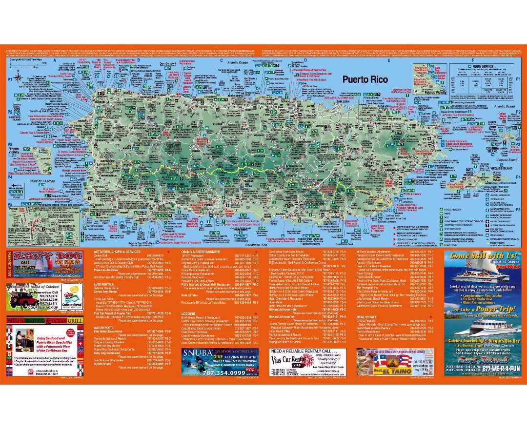 Large detailed tourist map of Puerto Rico with other marks