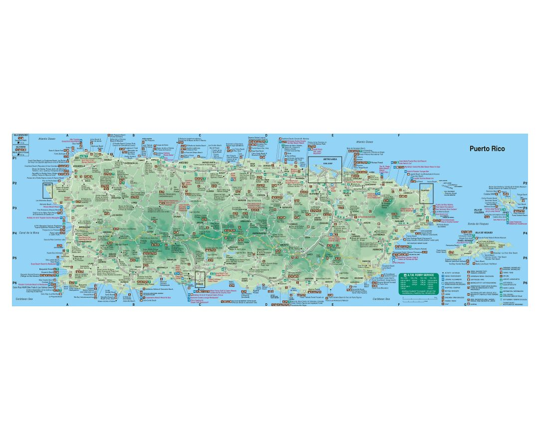 Large detailed tourist map of Puerto Rico with roads, cities and other marks