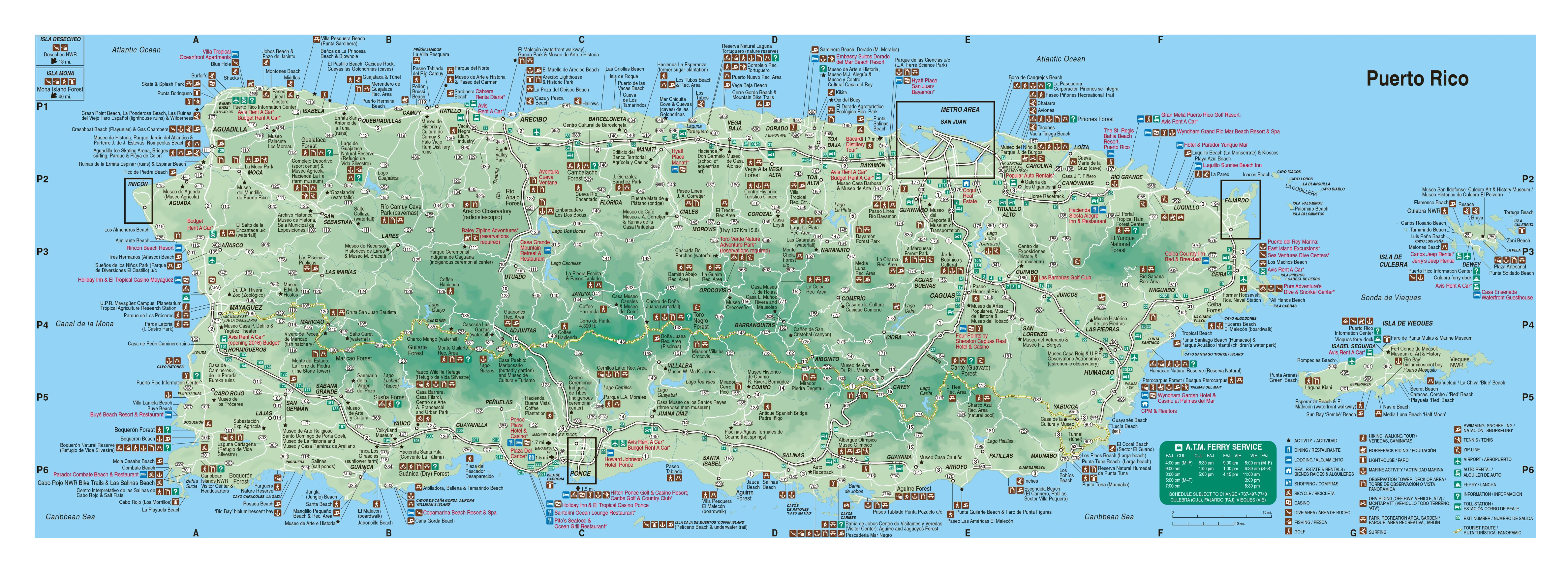 Large detailed tourist map of Puerto Rico with roads, cities and ...