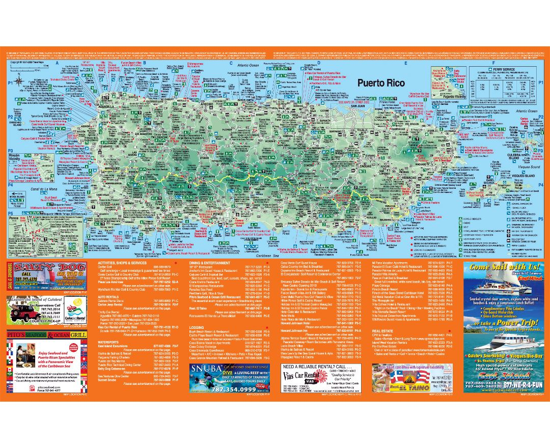 Large detailed travel map of Puerto Rico