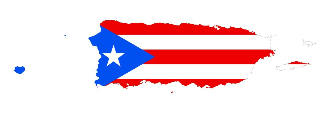 Large flag map of Puerto Rico