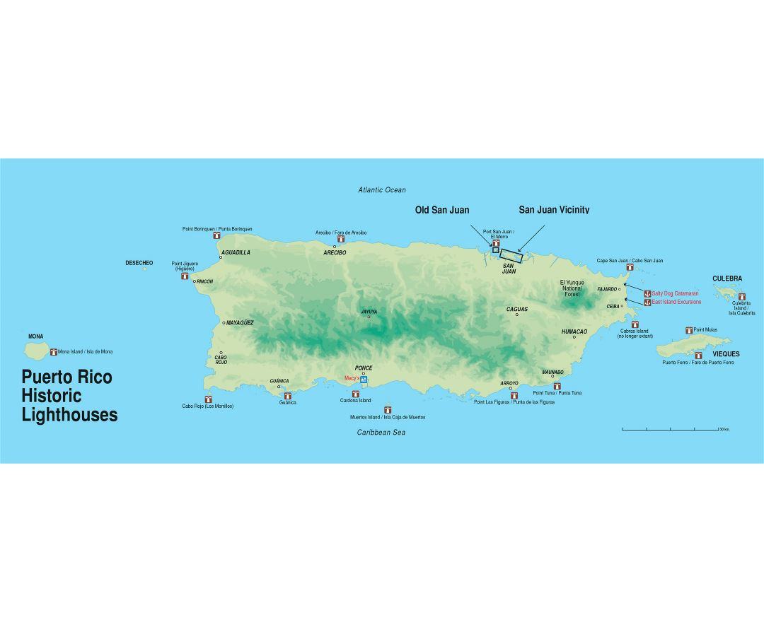 Large hicstoric lighthouses map of Puerto Rico