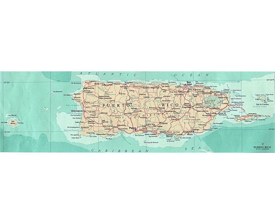 Large map of Puerto Rico with roads and cities
