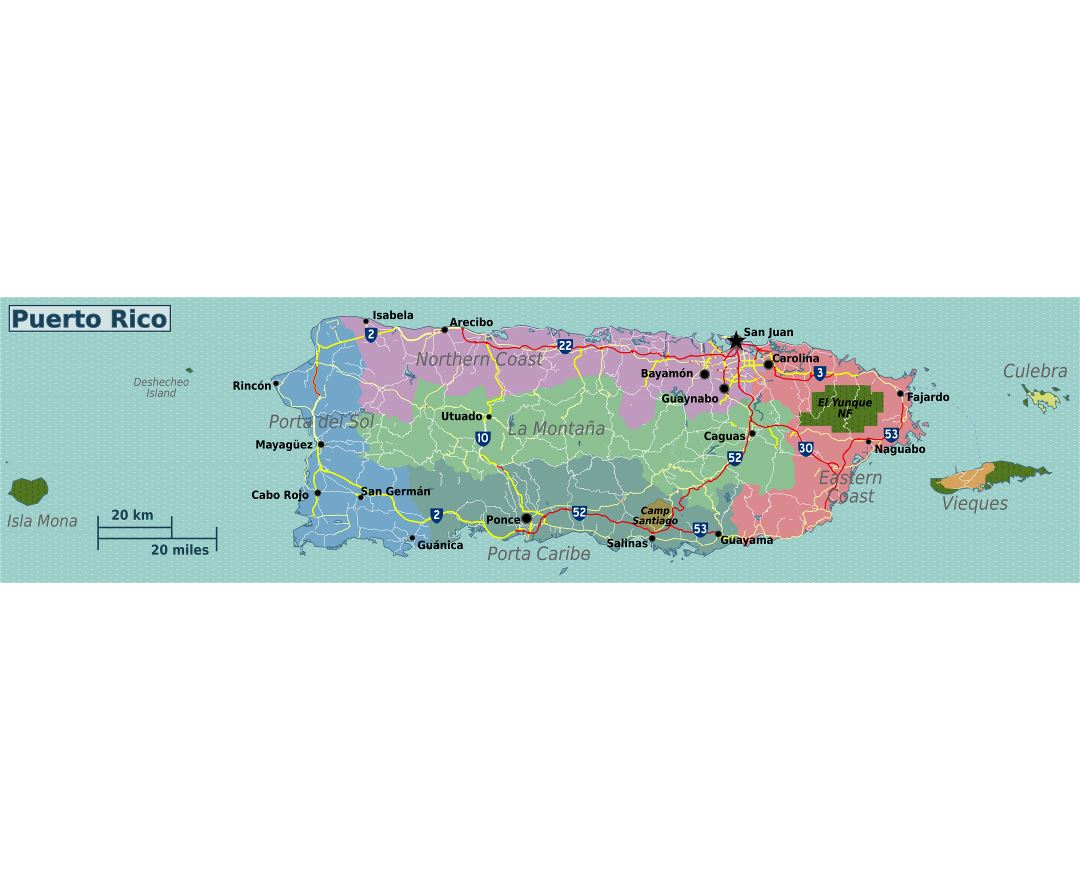 Large regions map of Puerto Rico