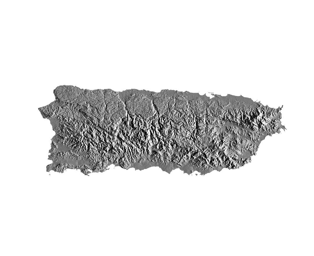 Large relief map of Puerto Rico
