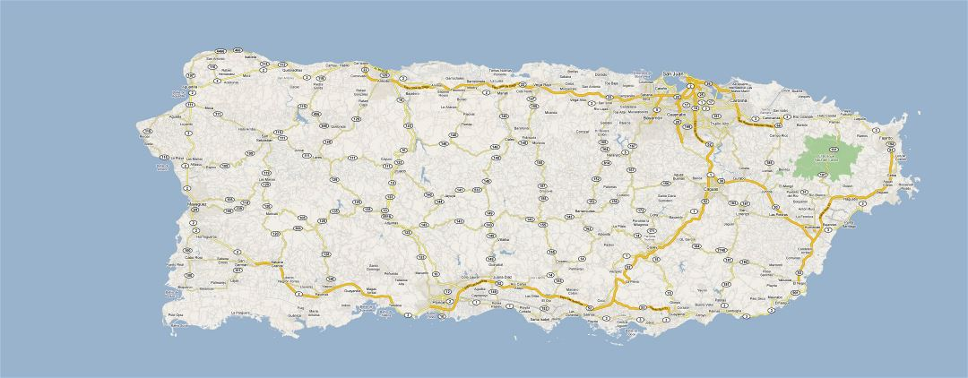 Large road map of Puerto Rico with cities