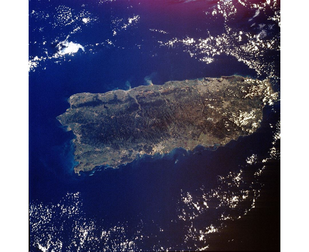 Large satellite map of Puerto Rico