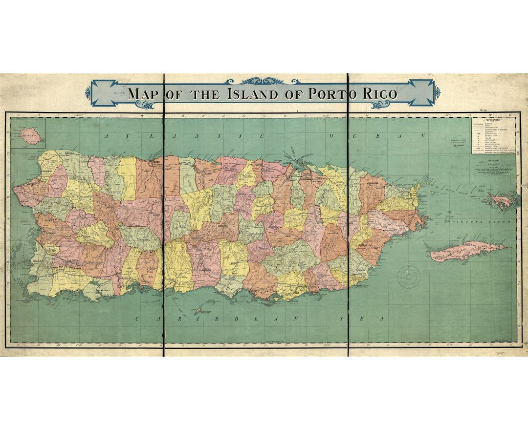 Large scale detailed old map of Puerto Rico with administrative divisions and other marks - 1915