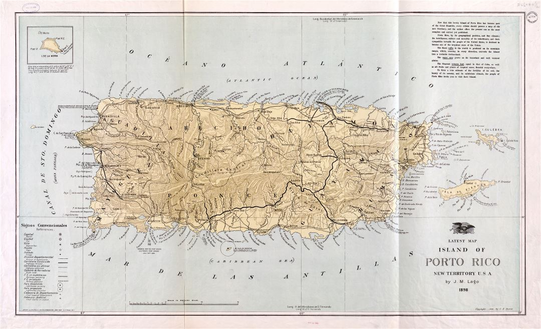 Large scale detailed old map of Puerto Rico with relief and other marks - 1898