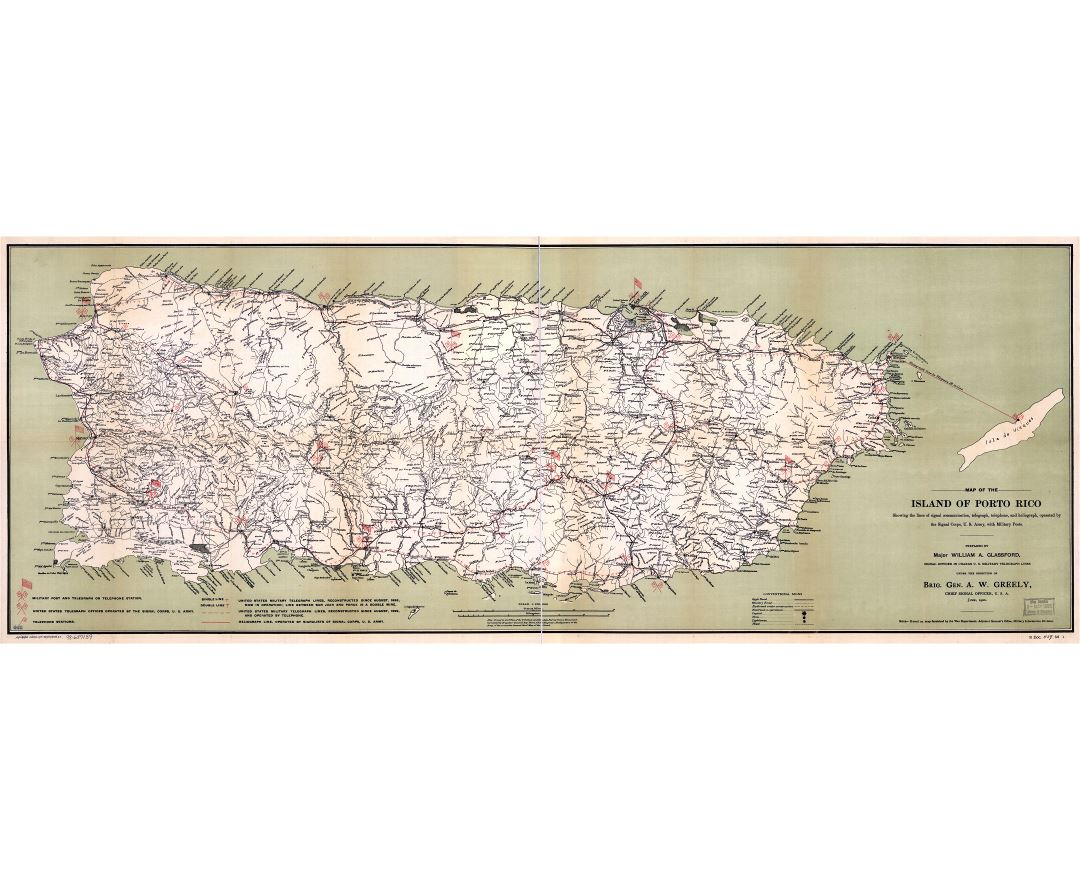 Large scale detailed old map of Puerto Rico with roads, cities, villages and other marks - 1900