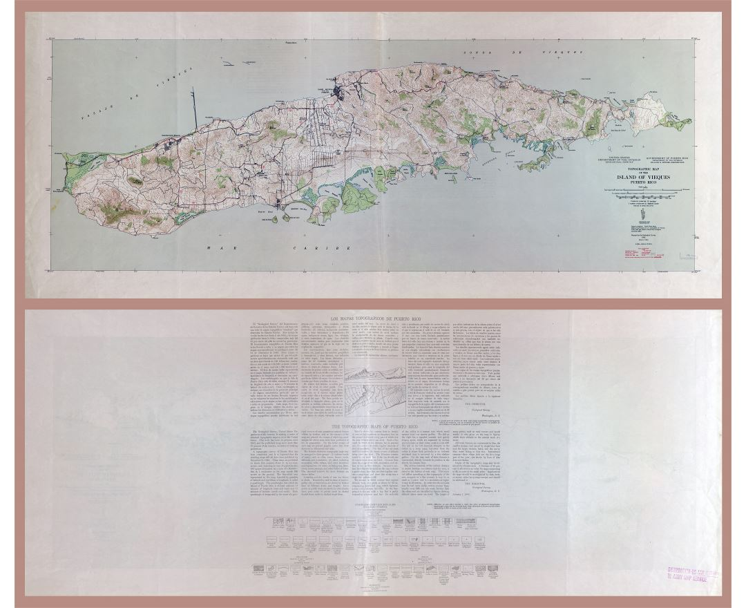 Large scale detailed topographic map of the Island of Vieques, Puerto Rico - 1946