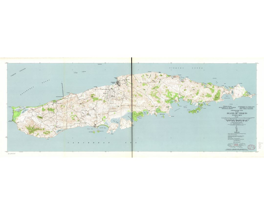 Large scale detailed topographic map of the Island of Vieques, Puerto Rico - 1951