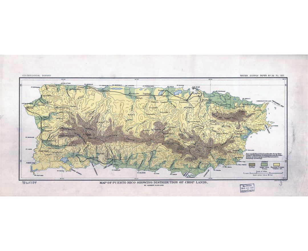 Large scale old map of Puerto Rico - showing distribution of crop lands - 1899