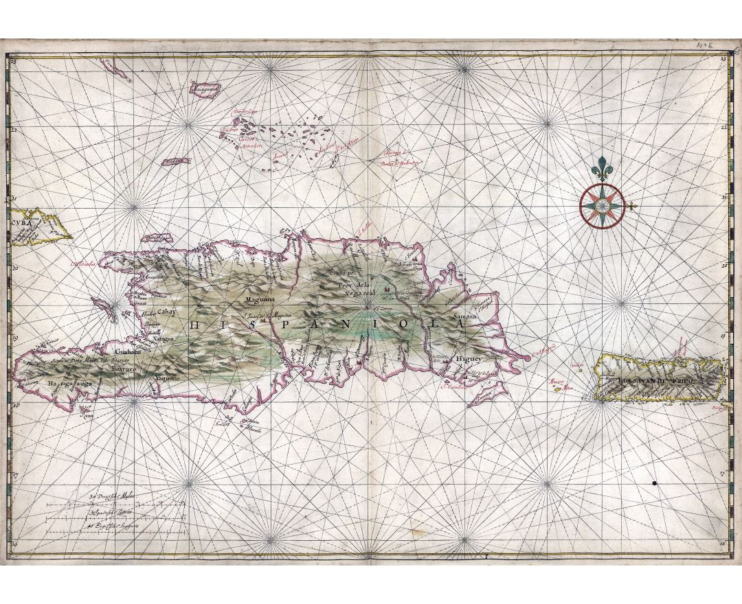 Large scale old map of the Islands of Hispaniola and Puerto Rico - 1639