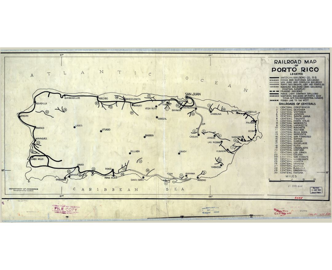 Large scale old railroad map of Puerto Rico - 1924