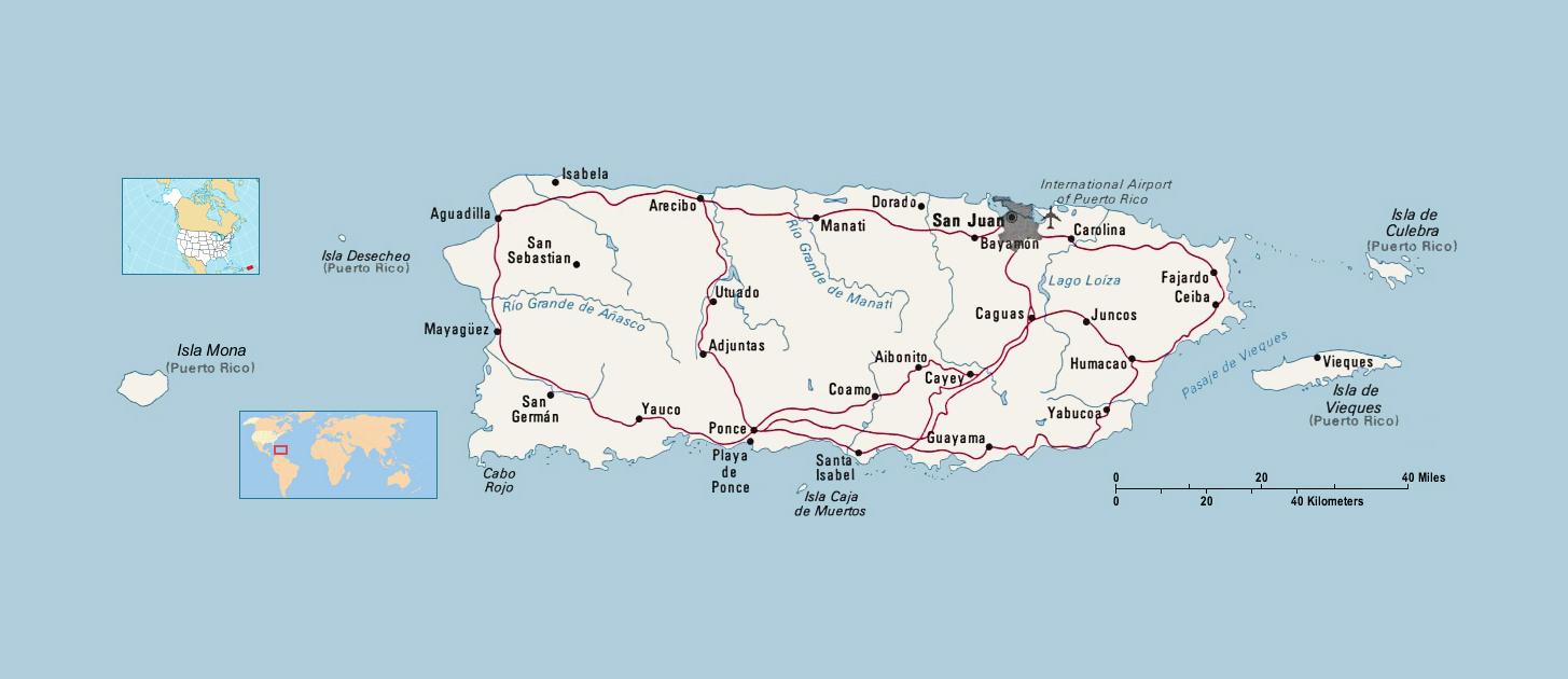 Political Map Of Puerto Rico Puerto Rico North America