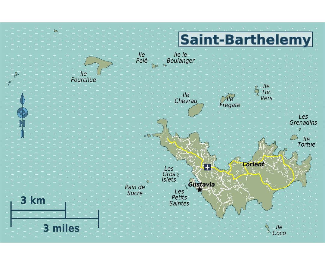 Maps of saint barthelemy detailed map of saint barthelemy in large detailed map of saint barthelemy with roads and airport publicscrutiny Choice Image