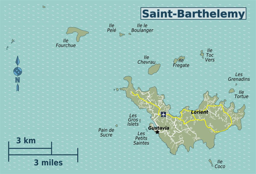 Large detailed map of Saint Barthelemy with roads and airport