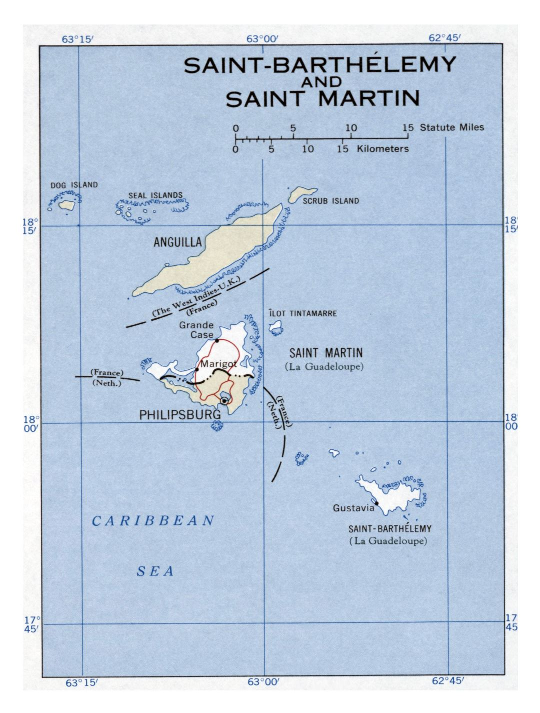 Large detailed political map of Saint Barthelemy and Saint Martin with major roads and major cities - 1960