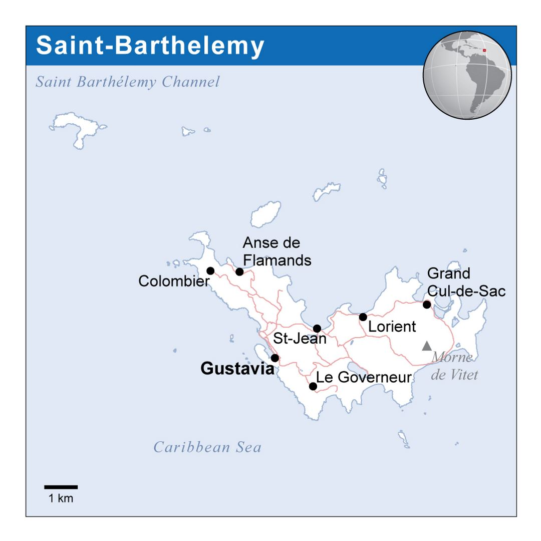 Large political map of Saint Barthelemy with roads and cities