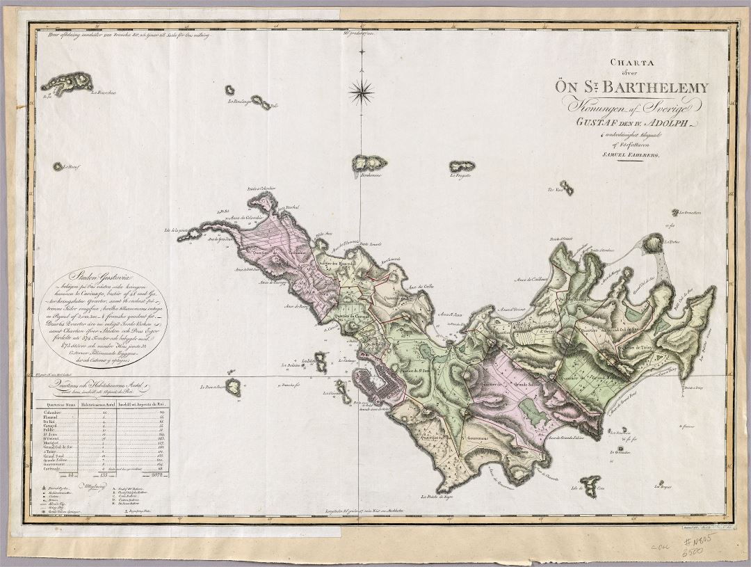 Large scale old map of Saint Barthelemy with relief and other marks - 1801
