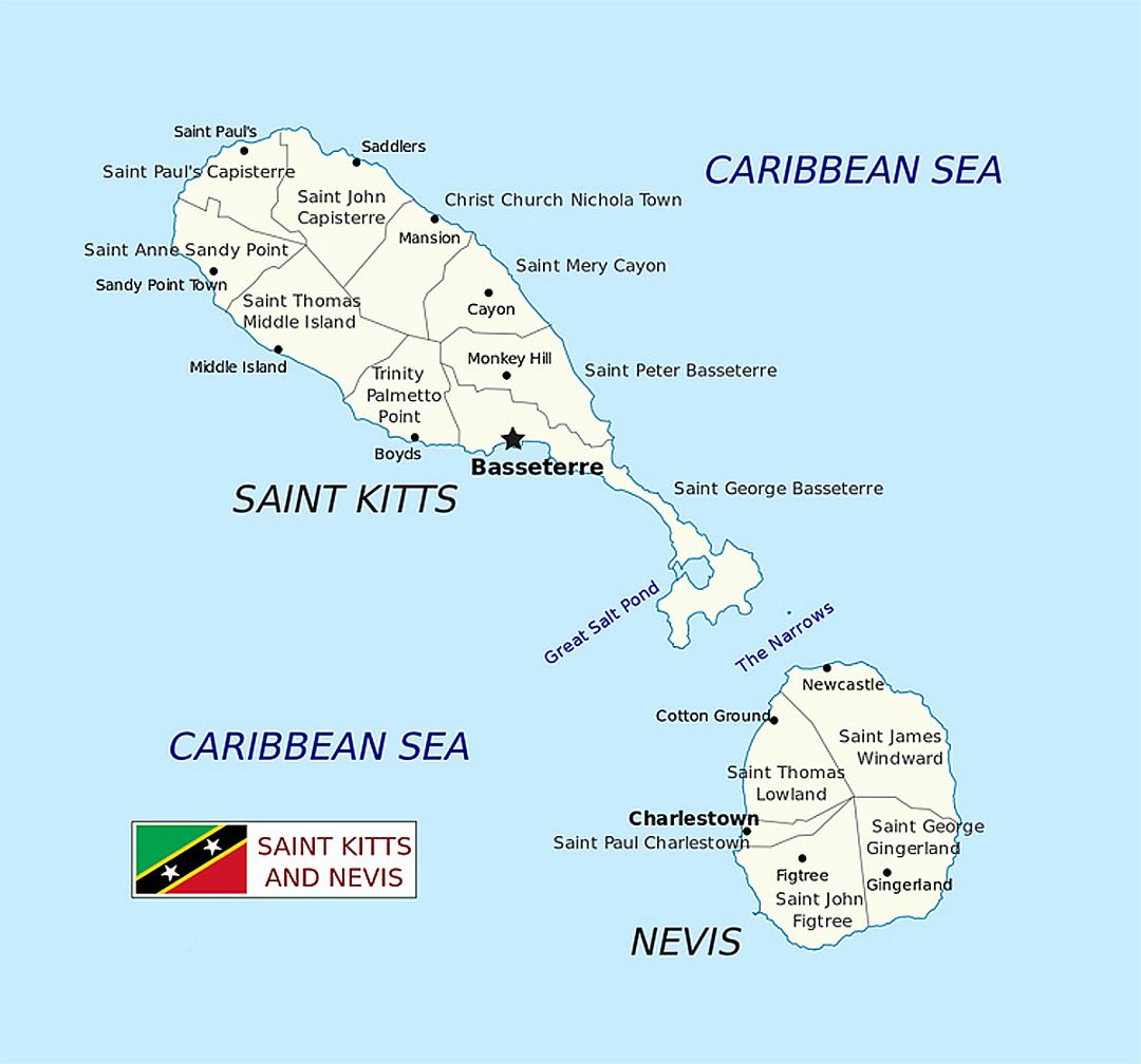 Detailed administrative map of Saint Kitts and Nevis with cities