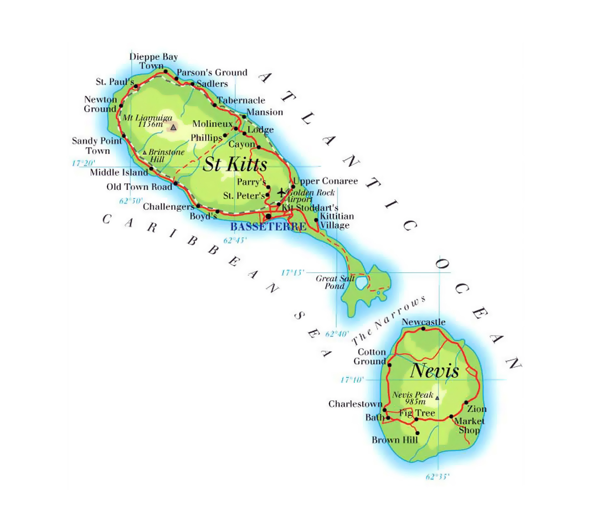 Detailed elevation map of Saint Kitts and Nevis with roads