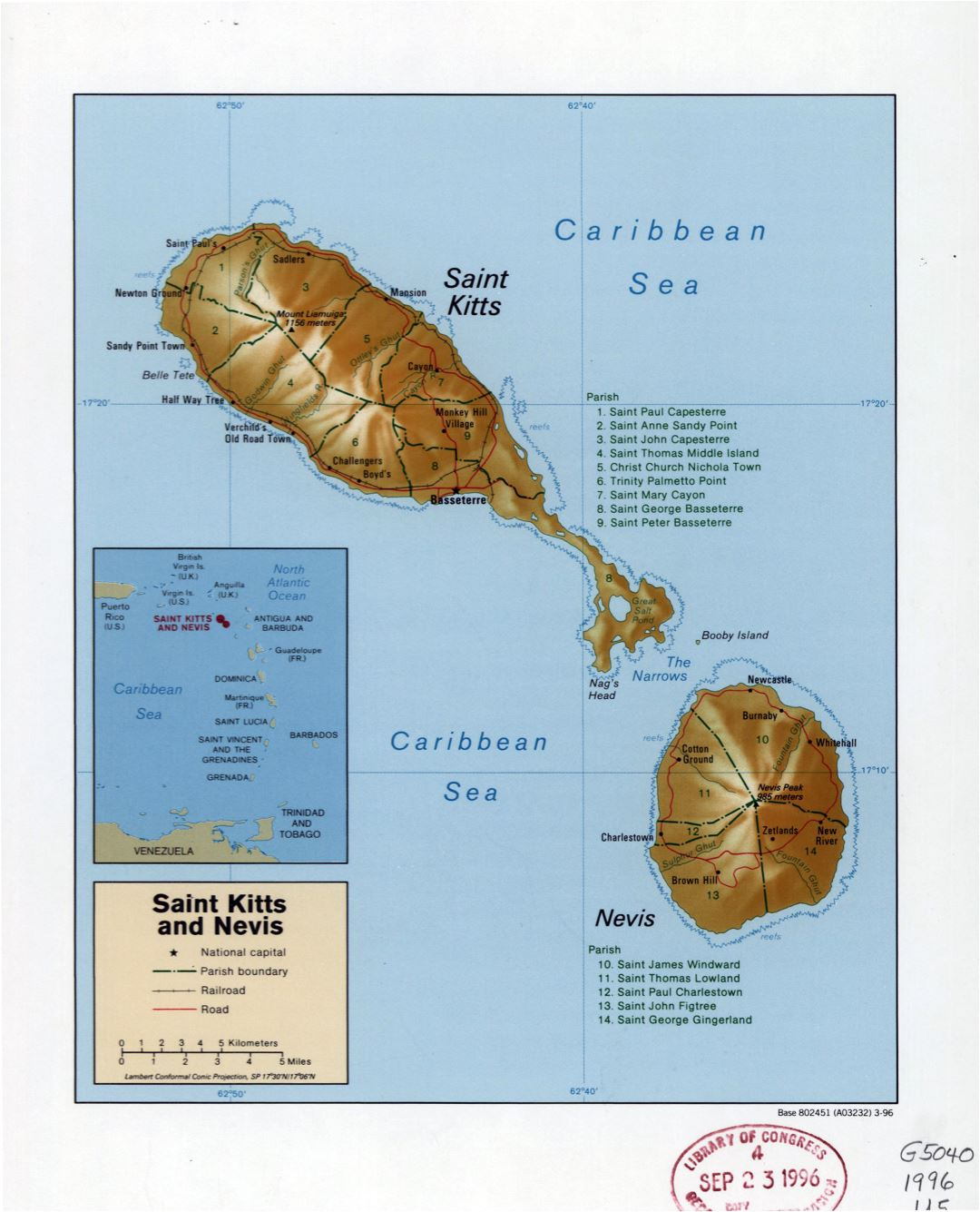 Large detailed political and administrative map of Saint Kitts and Nevis with relief, roads, railroads and cities - 1996