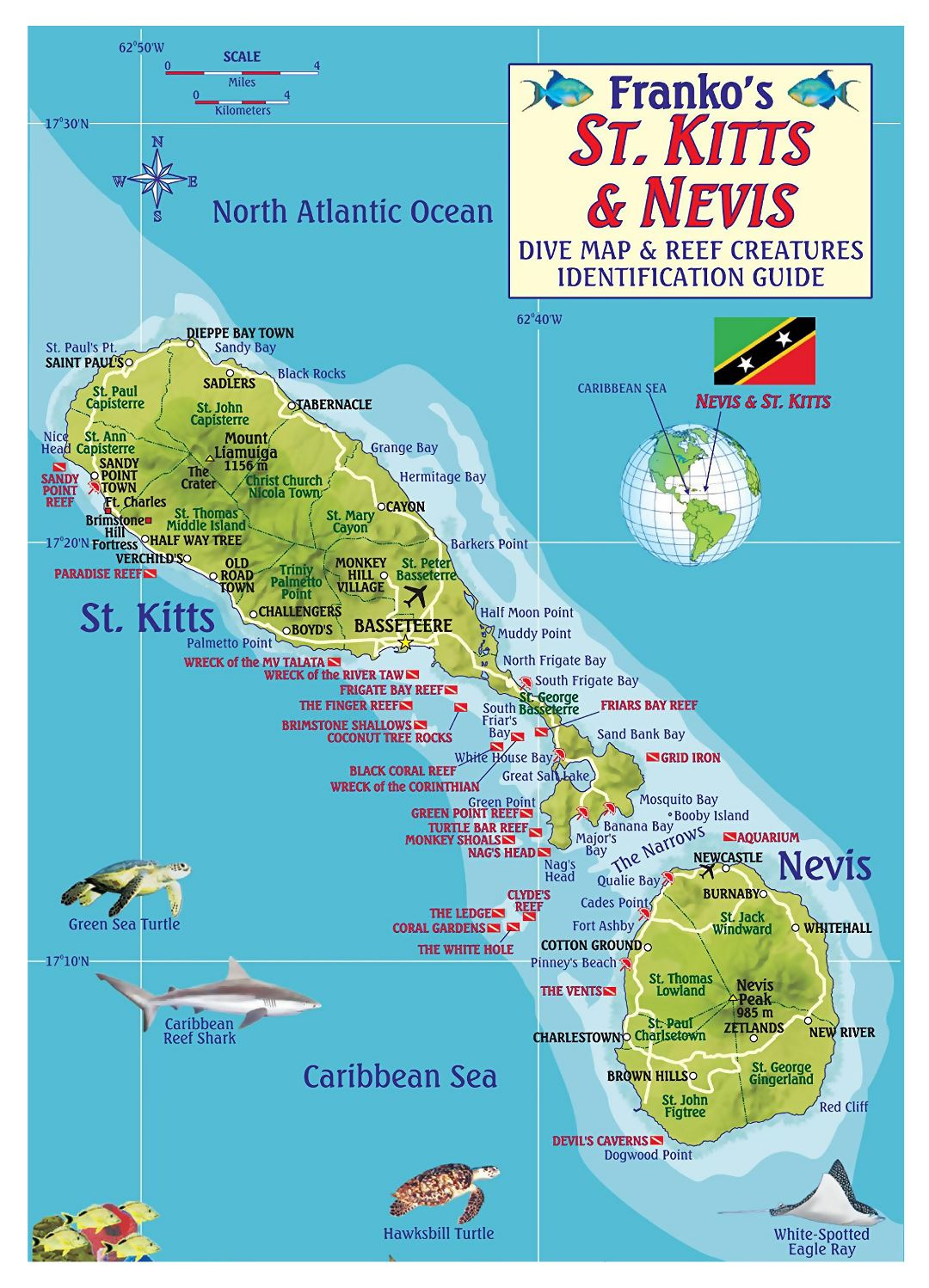 Large detailed travel illustrated map of Saint Kitts and Nevis