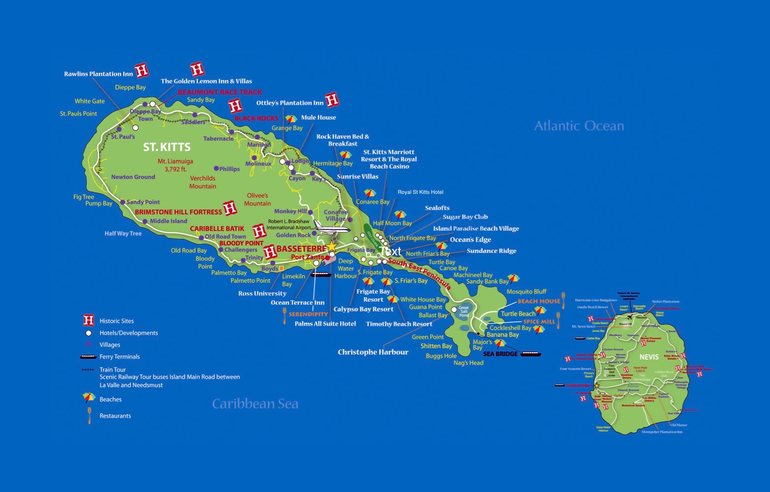 Large Detailed Travel Map Of Saint Kitts And Nevis Saint Kitts - Saint kitts and nevis map